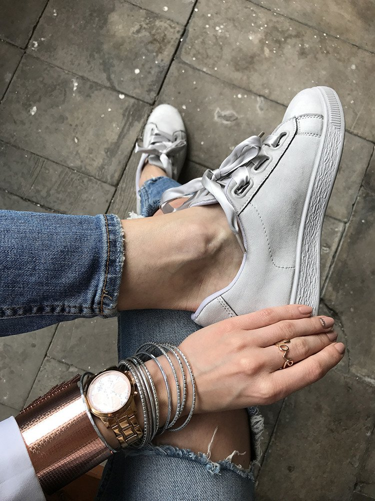 GREY LACE UP TRAINERS WITH A BOW