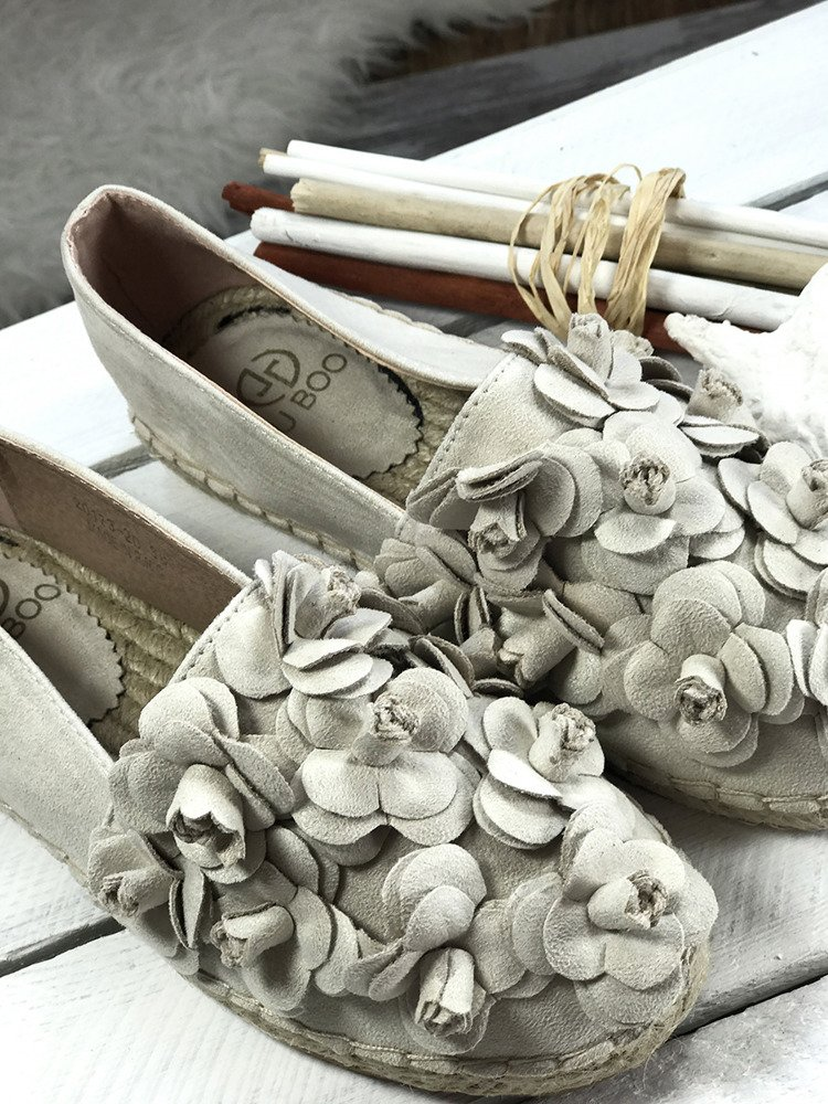 LU BOO FAUX SUEDE  ESPADRILLES  WITH FLOWERS