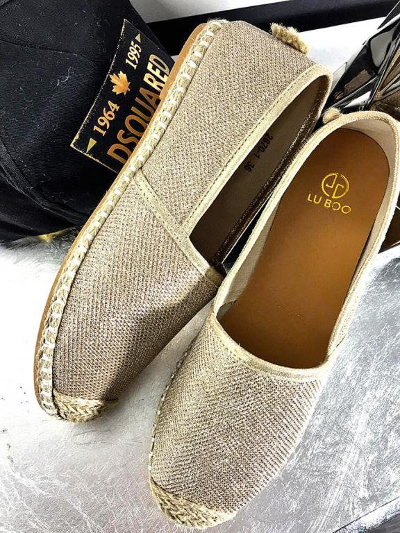 LU BOO GOLD ESPADRILLES SLIP ON FLAXY
