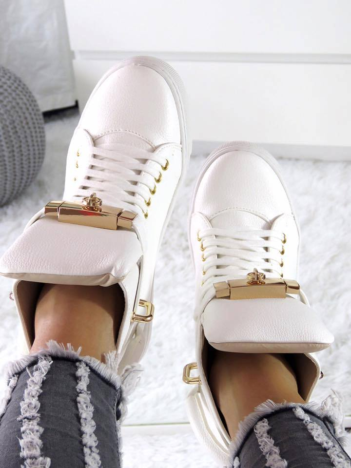 LU BOO HI TOP SNEAKERS GOLD KEY & PADLOCK
