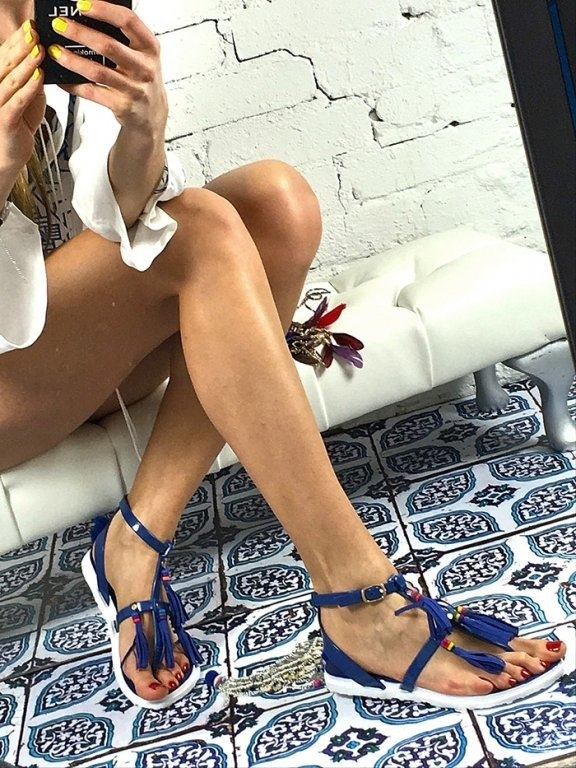 LU BOO NAVY SANDALS TASSELS SUMMER BEACH
