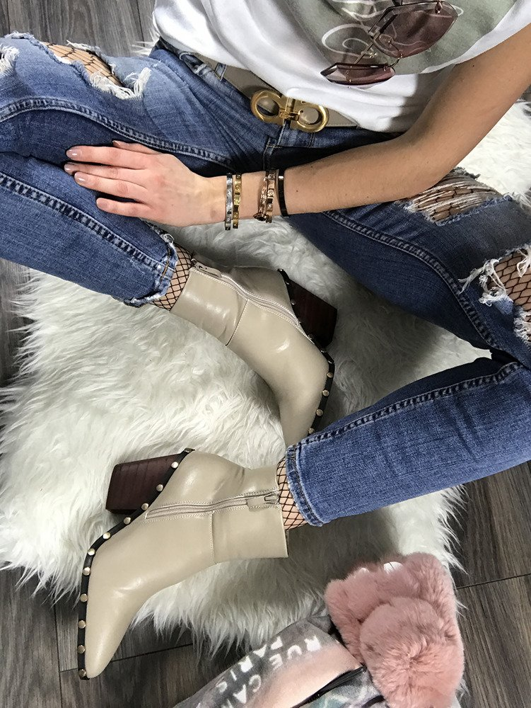 LU BOO NUDE ANKLE COWBOY BOOTS STUDDED RODEO CHUNKY