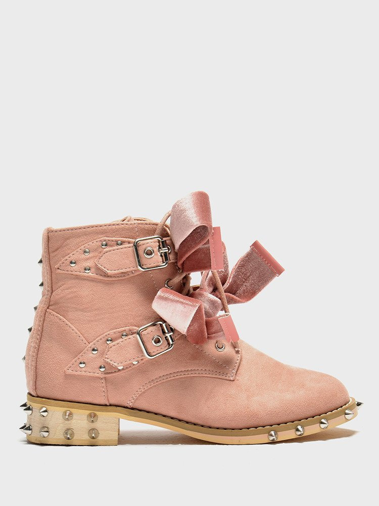 LU BOO PINK ANKLE STUDDED BOOTS WITH CUTE BOW