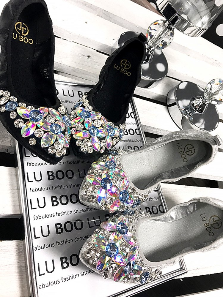Lu Boo black ballerina shoes with glossy crystals
