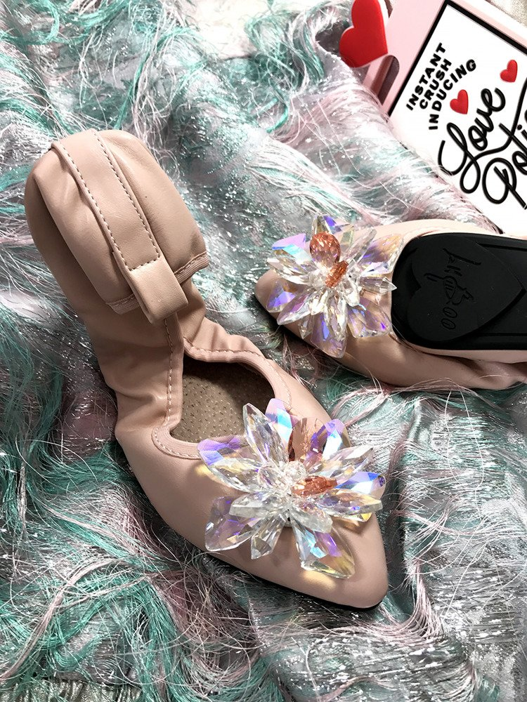Lu Boo pink ballerina shoes with glossy crystals