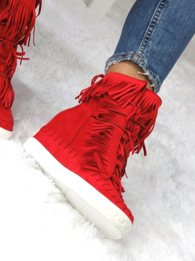 SNEAKERS SUEDE fringe trainers wedges