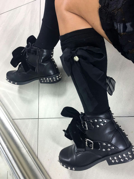 Black Ankle Studded Boots Lola
