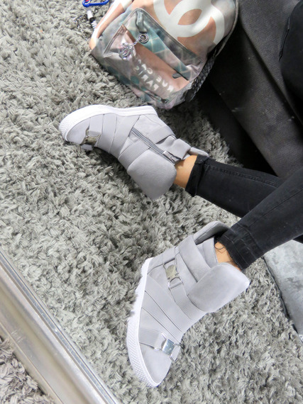 Grey Hi Top Wegde Ankle Sneakers Babe