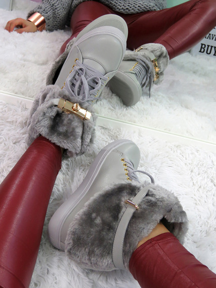 Hi Top Warm Grey Sneakers Gold Key & Padlock