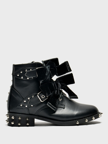 Black Ankle Studded Boots Kids Lola