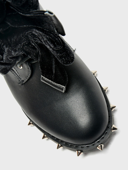 LU BOO BLACK ANKLE STUDDED BOOTS WITH CUTE BOW