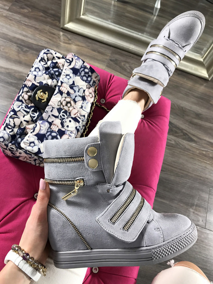 LU BOO GREY HI TOP SNEAKERS WEDGES WITH FANCY ZIPS