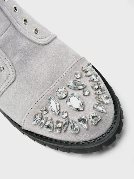 Grey Work Boots with Glitter Jewels