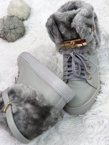 LU BOO HI TOP SNEAKERS GOLD KEY & PADLOCK WITH SOFT FUR