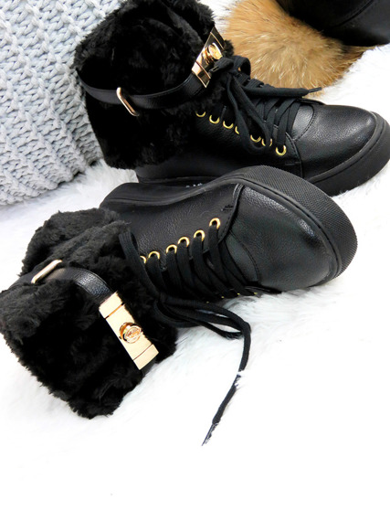 Hi Top Warm Black Sneakers Gold Key & Padlock