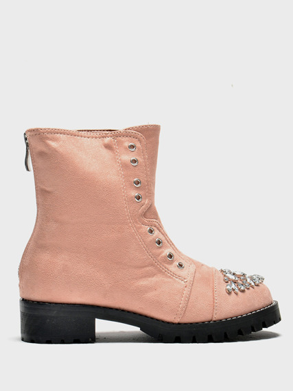 Pink Kids Work Boots with Glitter Jewels