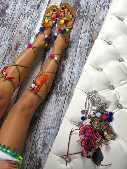 Pom Pom Sandals Lace-up Diva