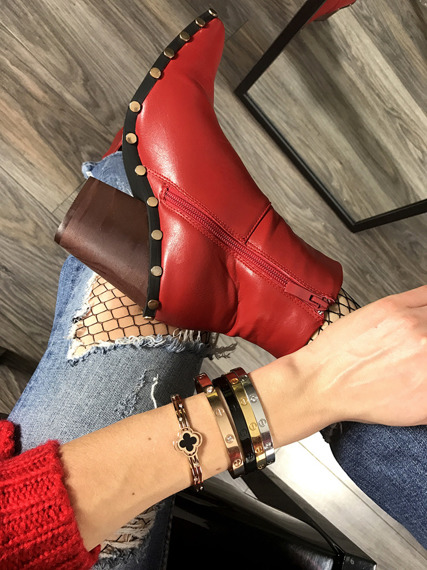 Red Ankle Boots Studded Cowboy