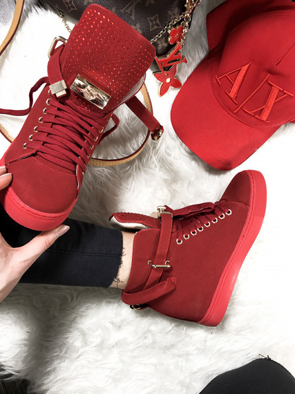 Red Sneakers Faux Suede Gold Key & Padlock
