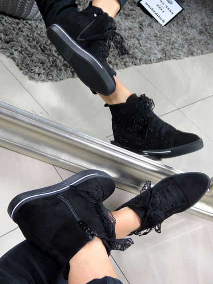 Black Faux Suede Sneakers Shoes Spike Crystals