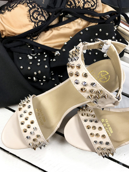 Beige Platform Wedge Sandals with studds