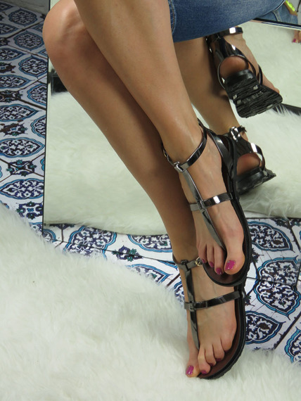 Pewter Rubber Gladiator Sandals