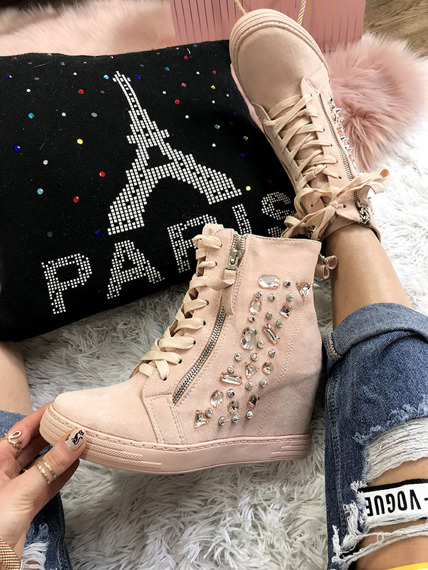 Pink High-top trainers with crystals Paris