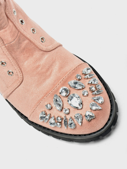 Pink Work Boots with Glitter Jewels