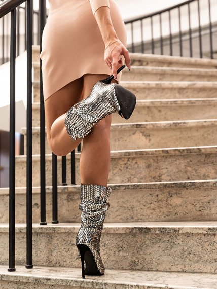 Silver Peeptoe Shoe Boot London