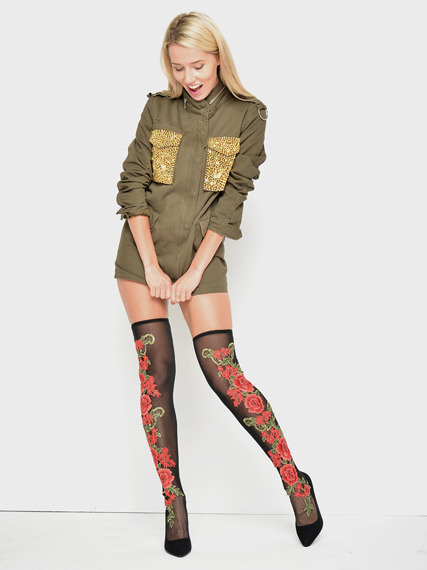 Stiletto sock fit lace over knee boots Flower