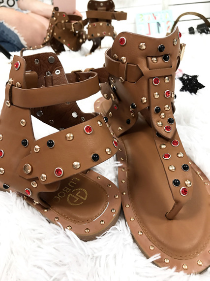 Synthetic Leather Studded Gladiator Flat Sandals