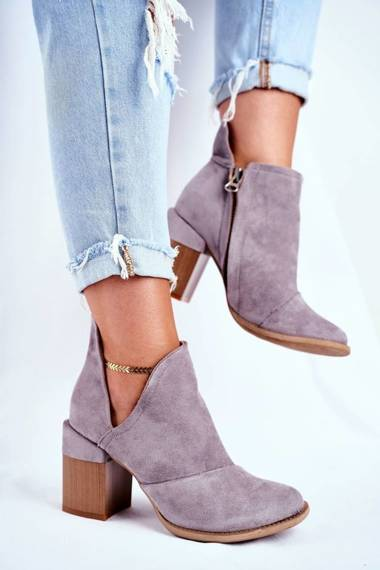 Women's Boots On High Hee Grey Trimmed Meliori