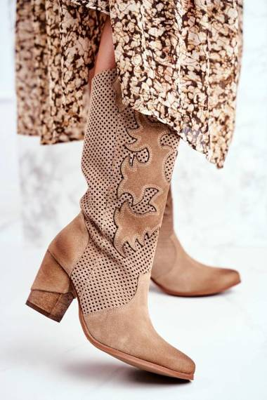 Women's Boots On High Heel Leather Beige High Rosemary