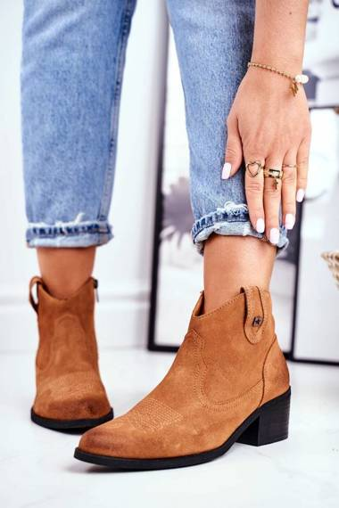 Women's Boots On High Heel Leather Big Star Camel