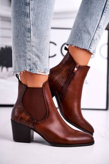 Women's Boots On High Heel Sergio Leone Brown BT613