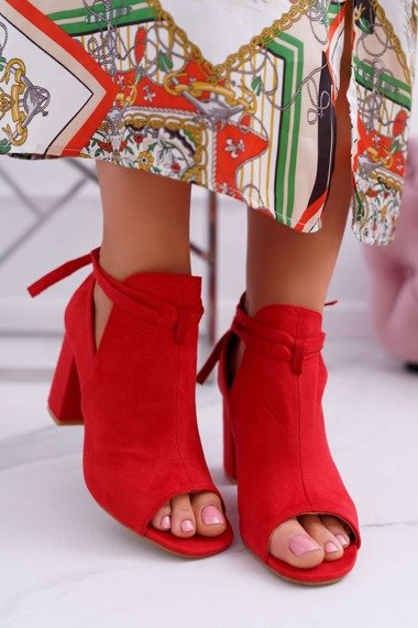 Women's Boots Red Sandals On a Heel Peep Toe Grays