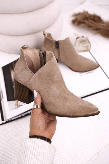 Women's Boots With A Cut On Block Heel Suede Beige Lawrence