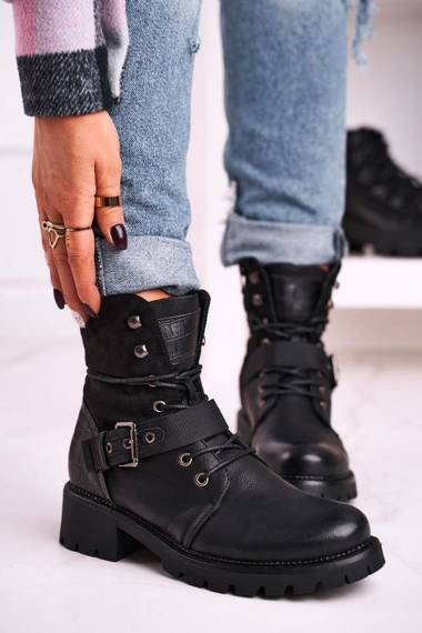 Women's Insulated Workers Boots Black Strong