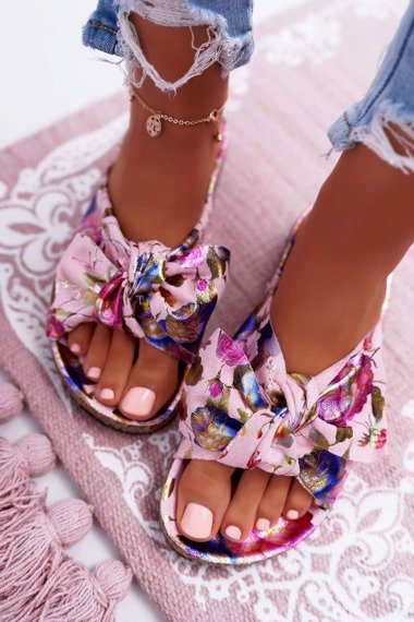 Women's Pink Flip-flops Bows Flowers Wendy