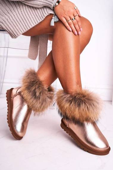 Women's Snow Boots Leather With Fur Champagne Snow Fox