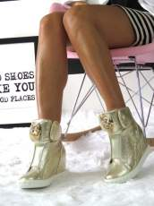Gold Trainers Wedges Sneakers Lion Head