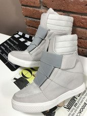 Grey Hi Top Sneakers Wedge Dusty
