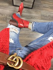LU BOO RED ANKLE COWBOY BOOTS STUDDED RODEO CHUNKY