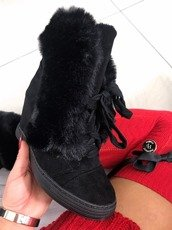 Lu Boo Black sneakers boots with fur Winter