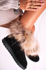 Women's Snow Boots Leather With Fur Black Snow Fox